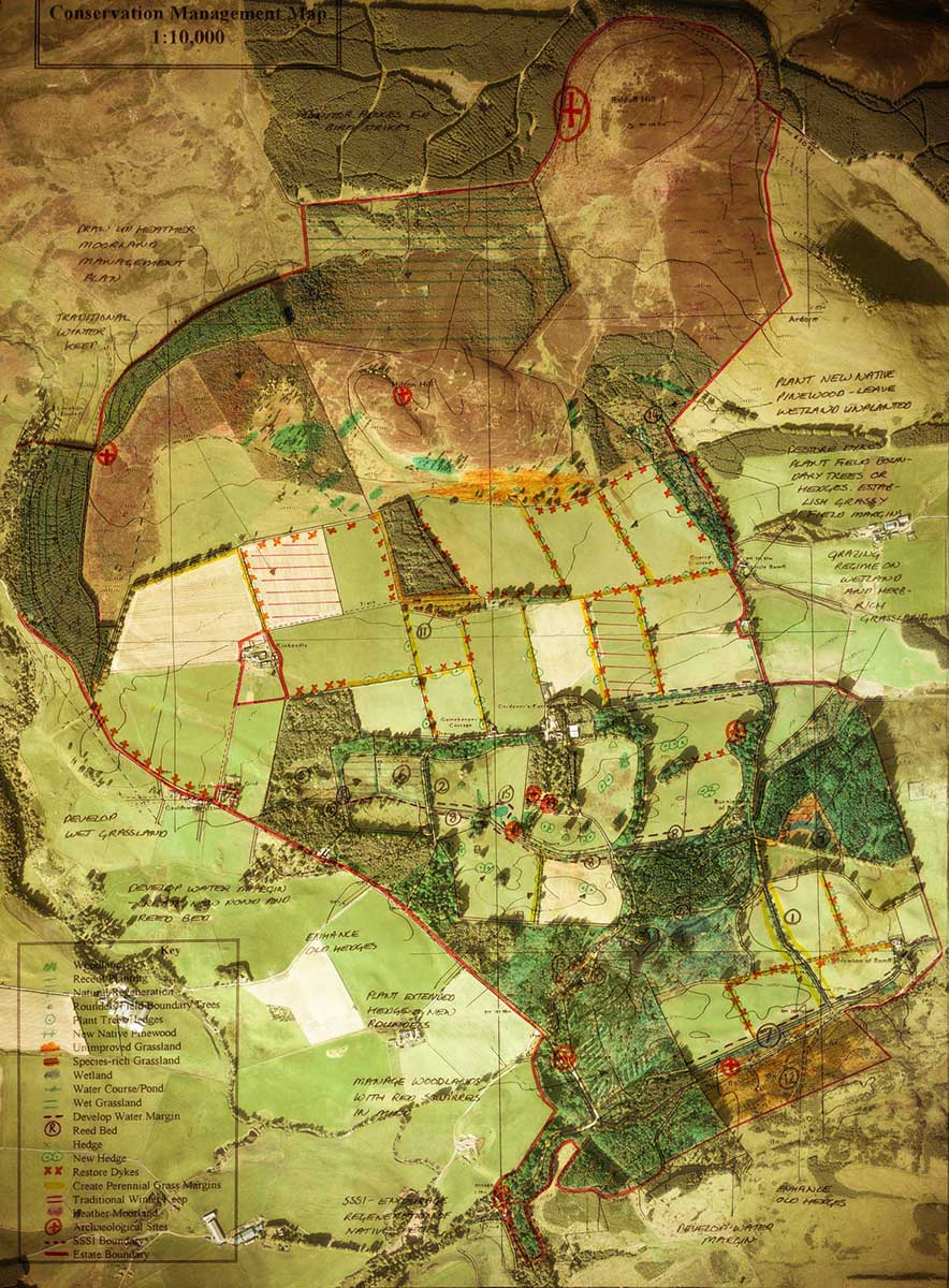 old conservation map with satellite imagery